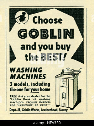A 1957 advert for Goblin washing machines. The advert appeared in a magazine published in the UK in May 1957 - Stock Photo