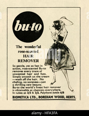 A 1959 advert for Bu-to hair rose-scented removal cream. The advert appeared in a magazine published in the UK in - Stock Photo
