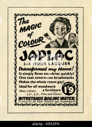 A 1959 advert for Japlac lacquer paint. The advert appeared in a magazine published in the UK in May 1959 - Stock Photo
