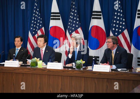 "U.S. Secretary of State John Kerry and U.S. Secretary of Defense Ashton Carter hold a ""2+2"" ministerial meeting - Stock Photo"