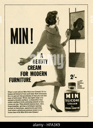A 1959 advert for Min silicon furniture cream. The advert appeared in a magazine published in the UK in May 1959 - Stock Photo