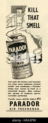 A 1959 advert for Lavender perfumed Parador air freshener. The advert appeared in a magazine published in the UK - Stock Photo