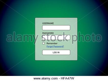 Computer access with log in screen waiting for user and password to open member account - Stock Photo