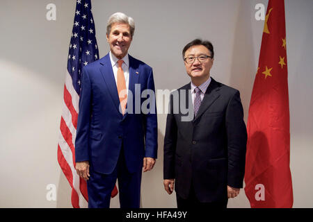 U.S. Secretary of State John Kerry, joined by U.S. Environmental Protection Agency Administrator Gina McCarthy, - Stock Photo