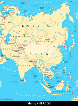 Asia political map with capitals, national borders, rivers and lakes. Largest continent. - Stock Photo