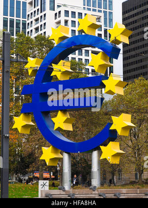 Sculpture or installation the Euro sign with stars prominent in the Willy-Brant-platz, financial center, Frankfurt - Stock Photo
