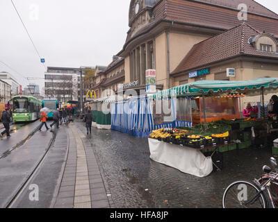 Weekly farmers market , Südbahnhof, Frankfurt am Main Germany, locale produce on both sides of the public transport - Stock Photo