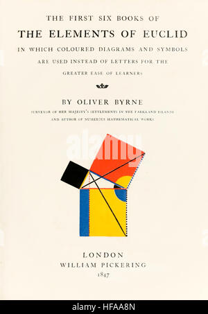 Title page from 'The First Six Books of the elements of Euclid in which coloured diagrams and symbols are used instead - Stock Photo