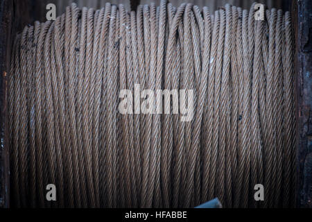 Metal wire or steel rope, wrap around a stainless steel rail Stock ...
