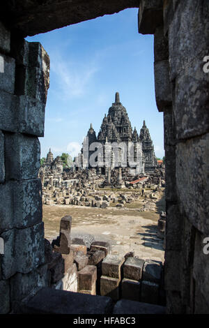 The Hindu Temple of Candi Sewu at the Prambanan Temple complex - Stock Photo