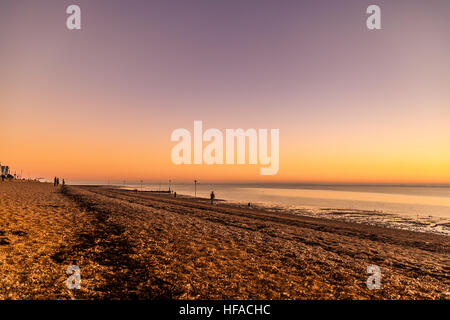View along the beach of Southend towards Thorpe Bay - Stock Photo