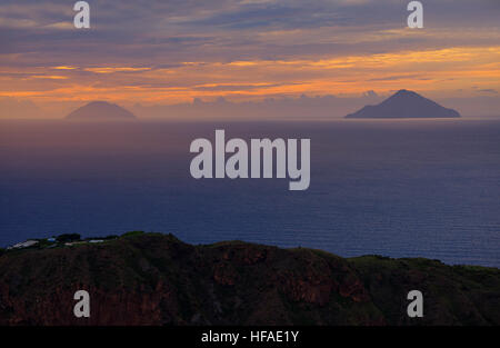 View from Gran Crater and Finicudi and Alicudi islands, Vulcano Island, Aeolian Islands, UNESCO World Heritage Site, - Stock Photo