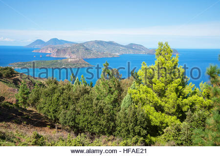 View of Lipari and Salina Island, Vulcano Island, Aeolian Islands, UNESCO World Heritage Site, Sicily, Italy, - Stock Photo