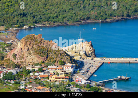 View of Vulcanello and Porto di Levante, Lipari Island at back, Aeolian Islands, Sicily, Italy - Stock Photo