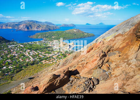 Porto di Levante and Vulcanello view, Aelolian Islands in the background, Vulcano Island, Aeolian Islands, UNESCO - Stock Photo