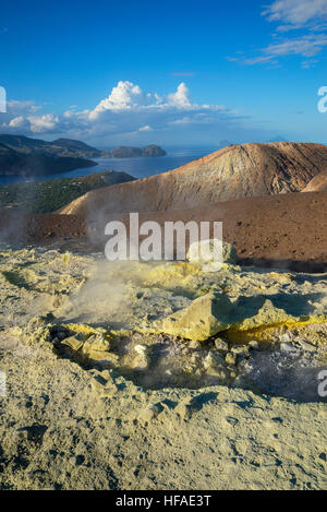 Gran Crater, Vulcano Island, Aeolian Islands, UNESCO World Heritage Site, Sicily, Italy, - Stock Photo