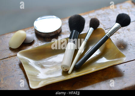 Makeup brushes in a horn container, luxury bathroom - Stock Photo