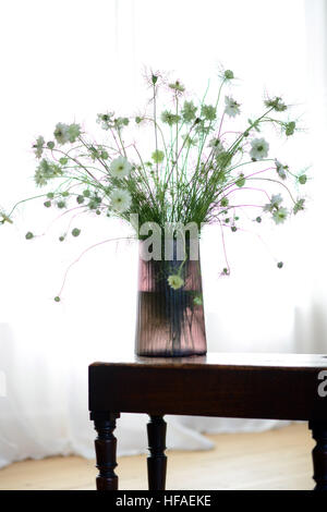 Smokey Glass Vase With Flower Display Inside Stock Photo 129923455