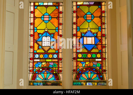 South Carolina Charleston Kahal Kadosh Beth Elohim built 1750 est 1695 cradle Reform Judaism 1824 Bimah stained - Stock Photo