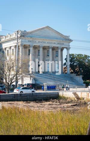 USA South Carolina Charleston the United States Custom House built 1879 marble faced Roman portico Corinthian limestone - Stock Photo