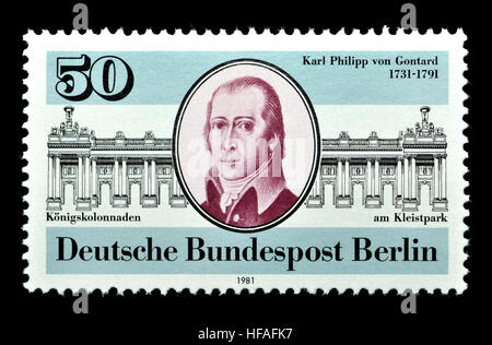 German (W Berlin) postage stamp (1981) : Karl Philipp Christian von Gontard (1731 – 1791) German architect who worked - Stock Photo