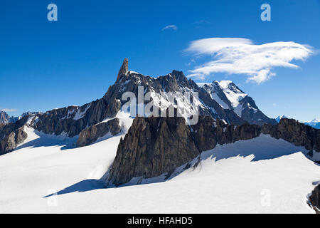 Panoramic view of Western alps with Giant's Tooth (Dent du Geant) from Helbronner roof of Europe in Aosta Valley - Stock Photo