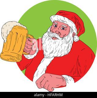 Drawing sketch style illustration of Santa Claus smiling facing front holding mug drinking beer set inside circle - Stock Photo