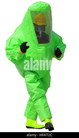 person with protective suit with breathing apparatus and anti contamination filters against biohazard and white - Stock Photo