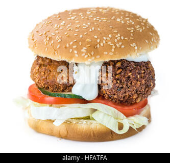 Falafel Burger isolated on white background (close-up shot; selective focus) - Stock Photo