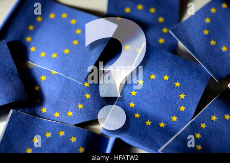 Question mark in front of flags of the European Union - Stock Photo