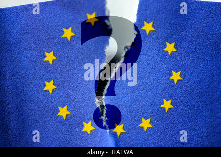 Question mark in front of torn flag of the European Union - Stock Photo