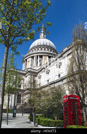 Springtime St Pauls Cathedral in London - Stock Photo