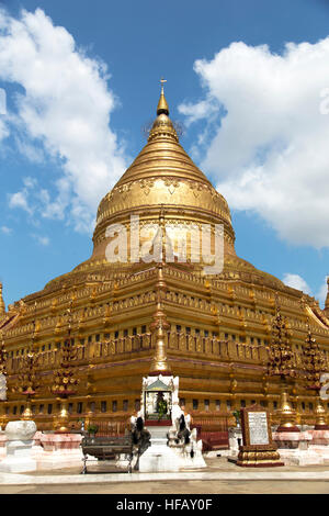 Shwezigon Pagoda , Bagan in Myanmar Burma - Stock Photo