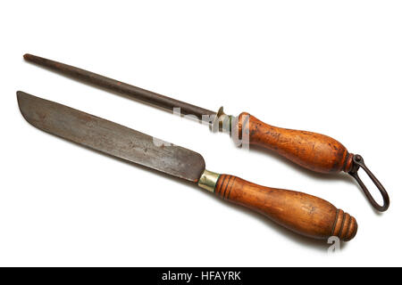 Butchery knife and sharpening stick isolated on white background - Stock Photo