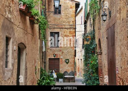 A small street in Pienza, Italy - Stock Photo