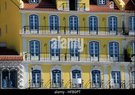 Casa dos Bicos, Fundacao Jose Saramago foundation and yellow house, Rua dos Bacalhoeiros Alfama, Lisboa, Lisbon, - Stock Photo