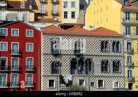 Casa dos Bicos, Fundacao Jose Saramago foundation, Rua dos Bacalhoeiros Alfama, Lisboa, Lisbon, Portugal - Stock Photo