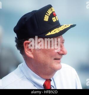 Edward Koch at commissioning of USS Lake Champlain (CG-57) cropped - Stock Photo