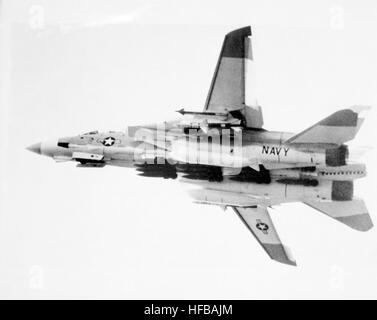 A left underside view of an F-14 Tomcat aircraft from Fighter Sqadron 24 (VF 24) in flight.  The aircraft is armed - Stock Photo