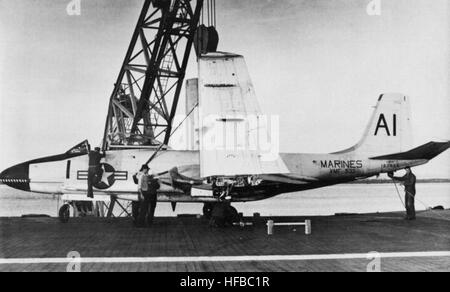 F2H-4 of VMF-533 on USS Lake Champlain (CVA-39) 1957 - Stock Photo