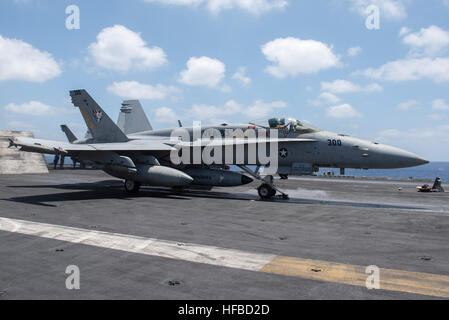 160609-N-GK939-068 MEDITERRANEAN SEA (June 9, 2016) An F/A-18C Hornet, assigned to the Rampagers of Strike Fighter - Stock Photo