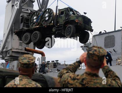 111118-N-WJ771-256 WHITE BEACH NAVAL FACILITY, Okinawa (Nov. 18, 2011) Marines assigned to Combat Logistics Regiment - Stock Photo
