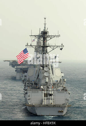 110214-N-6692A-087 GULF OF THAILAND (Feb. 14, 2011) The Arleigh Burke-class guided-missile destroyer USS Stockdale - Stock Photo