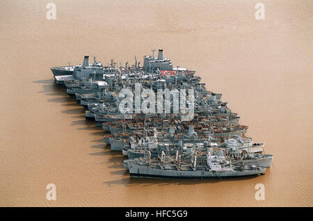 Aerial view of Unit 7 of the Reserve Fleet moored near Fort Eustis.  From bottom to top, unidentified AK, Santa - Stock Photo