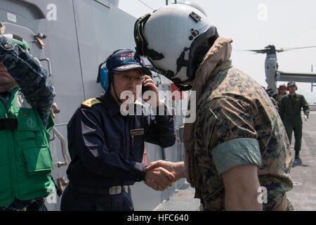 KUMAMOTO, Japan (April 19, 2016) Japan Maritime Self-Defense Force Rear Adm. Koji Manabe, Escort Flotilla 3 Commander, - Stock Photo