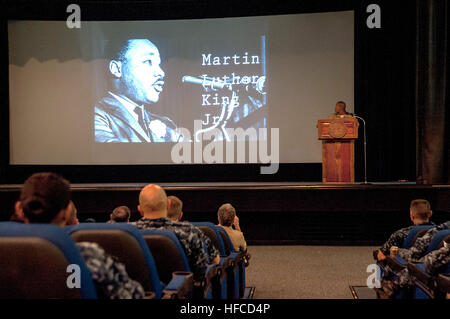 Service members attend a Dr. Martin Luther King Jr. day observance event at Sharkey Theater, Joint Base Pearl Harbor - Stock Photo