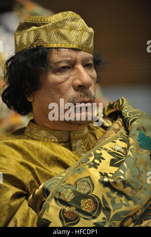 Muammar Qaddafi, the Libyan chief of state, attends the 12th African Union Summit in Addis Ababa, Ethiopia, Feb. - Stock Photo