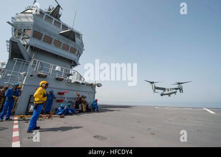 GULF OF ADEN (JULY 5, 2015) An MV-22B Osprey from the Greyhawks of Marine Medium-lift Tiltrotor Squadron (VMM) 161 - Stock Photo