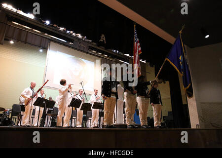 150428-N-DC740-133 BOSSIER CITY, La. (April 28, 2015) Members of USS Constitution's color guard present the colors - Stock Photo