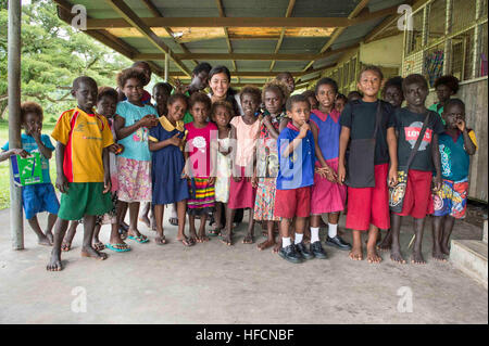 150622-N-CF750-064 ARAWA, Papua New Guinea (June 22, 2015) Lt. j. g. Adrianna Garcia, Pacific Partnership Papua - Stock Photo